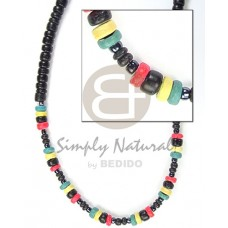 Coconut Pokalet 2-3 mm Rasta 4-5 mm Black Coconut Necklace BFJ074NK