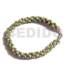 Coconut Pokalet Green Natural 2-3 mm Coconut Bracelets BFJ163BR