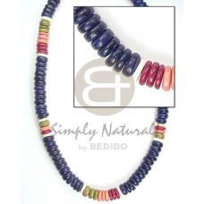 Coconut Pokalet Green Red Blue 7-8 mm Dyed Coconut Necklace BFJ055NK