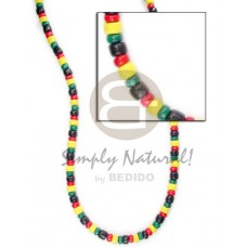 Coconut Pokalet Rasta 4-5 mm Dyed Coconut Necklace BFJ002NK