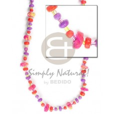 Coconut Pokalet Red Violet Pink 4-5 mm Flower Glass Beads Dyed Coconut Necklace BFJ078NK