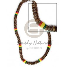 Coconut Rasta Brown 7-8 mm Coconut Necklace BFJ023NK