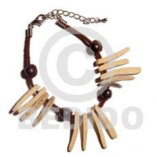 Coconut Stick Leather Wood Beads Coconut Bracelets BFJ1007BR