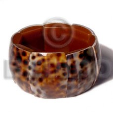 Cowrie Tiger Shell Elastic Rectangular 35 mm Tiger Bangles - Shell Bangles BFJ093BL