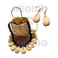 Cowrie Tiger Shell Macrame thread Tiger Black Set Jewelry Earrings Necklace Set Jewelry BFJ033SJ