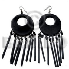 Dangling 50 mm Black White Wood Dyed Wood Earrings BFJ5524ER