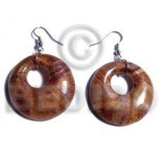 Dangling Banana Bark Round 35 mm Laminated Brown Wood Earrings BFJ5702ER