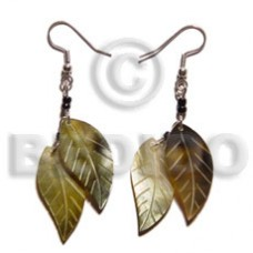 Dangling Brown Lip Shell 25 mm Leaf Brown Shell Earrings BFJ5091ER