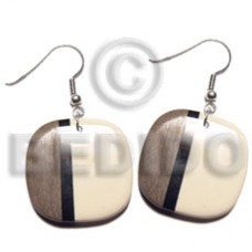 Dangling Graywood Bone 30 mm Square Wood Earrings BFJ5646ER