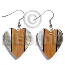 Dangling Kabibe Shell Wood Resin Black Lip Shell Laminated 35 mm Heart Wood Earrings BFJ5573ER
