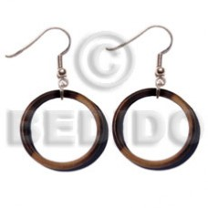 Dangling Kamagong Wood Ebony Tiger Ring 35 mm Wood Earrings BFJ5342ER