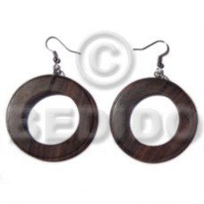 Dangling Kamagong Wood Ring 45 mm Wood Earrings BFJ5572ER