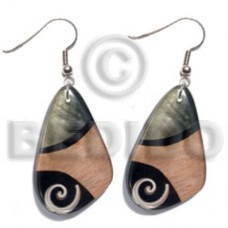 Dangling Luhuanus Red Everlasting Wood Resin Black Lip Shell Laminated 40 mm Wood Earrings BFJ5575ER