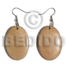 Dangling Oval White Wood Natural White 38 mm Wood Earrings BFJ5567ER