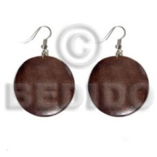 Dangling Round White Wood Brown 32 mm Wood Earrings BFJ5571ER