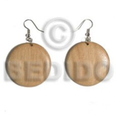 Dangling Round White Wood Natural White 32 mm Wood Earrings BFJ5568ER