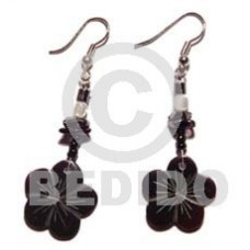 Dangling Scallop Black Tab Shell Black Trocha Shell Black Shell Earrings BFJ707ER