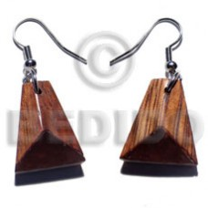 Dangling Triangle Palmwood Brown 20 mm Wood Earrings BFJ5676ER