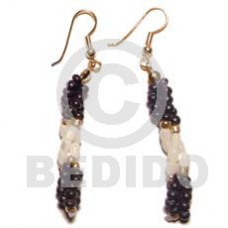 Dangling Trocha Shell Rice Coconut Pokalet White Black Shell Earrings BFJ677ER