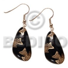 Dangling Wood Hand Painted Black Gold Fish Wood Earrings BFJ5537ER