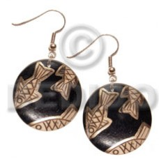 Dangling Wood Hand Painted Black Gold Fish Wood Earrings BFJ5538ER