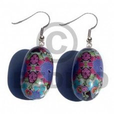 Dangling Wood Oval Wrapped Laminated Resin Printed Wood Earrings BFJ5746ER