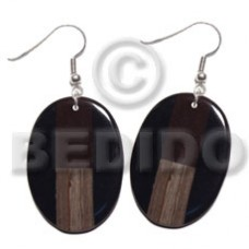 Dangling Wood Resin Black Oval 40 mm Wood Earrings BFJ5661ER