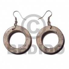 Donut Wrapped Laminated Resin Printed Dangling Wood Earrings BFJ5762ER