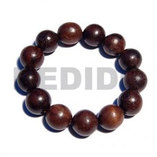 Ebony Tiger Round Kamagong Wood Elastic 7.5 inches 12 mm Wood Bracelets BFJ5302BR