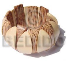 Elastic Ambabawd Wood Palmwood Coated Bangles - Wooden Bangles BFJ024BL