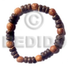 Elastic Coconut Pokalet Palmwood 7-8 mm Wood Bracelets BFJ5012BR