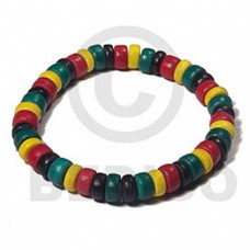 Elastic Rasta Coconut Beads 4-5 mm Coconut Bracelets BFJ5465BR