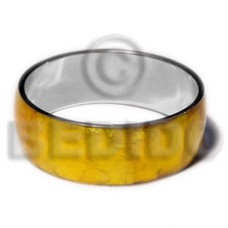 Golden Yellow Capiz Shell Laminated Stainless Metal 1 inch 65 mm Bangles - Shell Bangles BFJ116BL