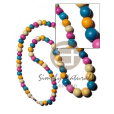 Graduated Multi-Color Dyed 30 inches Wood Beads Wooden Necklaces BFJ2178NK