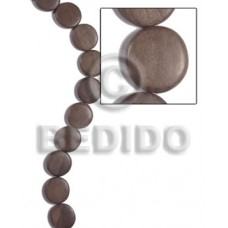 Graywood Gray Flat Round/Coin 20 mm 16 inches Wood Beads - Flat Round and Oval Wood Beads BFJ491WB