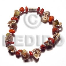 Green Red Glass Beads Luhuanus Red Everlasting 7.5 inches Sea Shell Bracelets BFJ5137BR