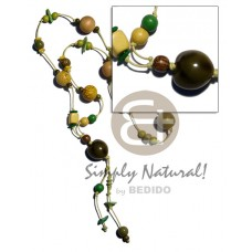 Green Yellow Lumbang Kukui Nut Seed Wood Beads Wax Cord 36 inches Painted Wooden Necklaces BFJ1799NK