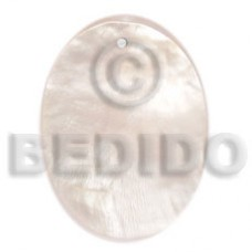 Hammer Shell 40 mm Oval White Pendants - Simple Cuts BFJ6212P