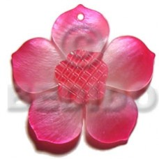 Hammer Shell Flower Carvings Pink 40 mm Pendants - Shell Pendants BFJ5503P