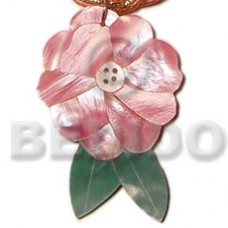 Hammer Shell Flower Leaf Natural Inlaid 40 mm Pendants - Shell Pendants BFJ5073P