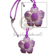 Hammer Shell Flower Lilac Tones Wax Cord Shell Necklace BFJ1122NK