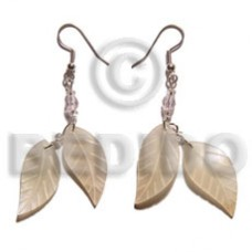 Hammer Shell Leaf 25 mm Dangling Natural Shell Earrings BFJ5092ER