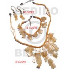 Hammer Shell Macrame thread Nude Set Jewelry 18 in necklace 7.5 Bracelets Earrings Set Jewelry BFJ05