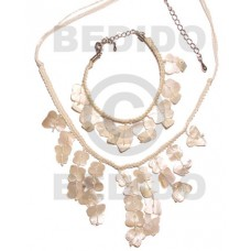 Hammer Shell Macrame thread White Set Jewelry Necklace Bracelets Set Jewelry BFJ062SJ