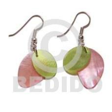 Hammer Shell Pink Green Dangling Dyed Shell Earrings BFJ784ER