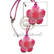 Hammer Shell Pink Tones Flower Wax Cord Shell Necklace BFJ1121NK