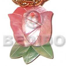 Hammer Shell Rose Bud Inlaid 45 mm Natural Pendants - Shell Pendants BFJ5072P