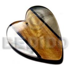 Heart 60 mm Kabibe Shell Resin Wood Laminated Pendants - Wooden Pendants BFJ6105P
