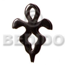 Horn 40 mm Cross Black Pendants - Bone Horn Pendants BFJ5178P