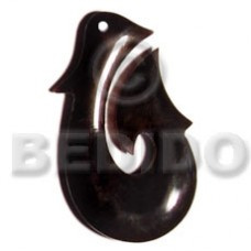 Horn 45 mm Fish Hook Black Pendants - Bone Horn Pendants BFJ5187P